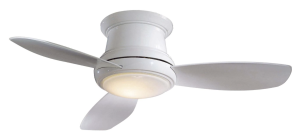 Minka-Aire F518-WH 44-inch Concept II Flush Mount Ceiling Fan, White with White Blades - light on